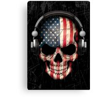 Dj Skull with American Flag Canvas Print