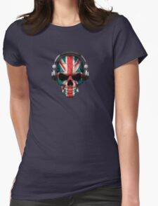 Dj Skull with British Flag Womens Fitted T-Shirt