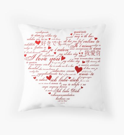 Words of Love Designer Art Red Throw Pillow