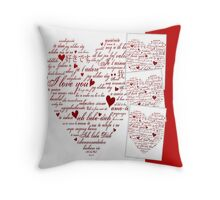 Red Words of Love Designer Art Throw Pillow