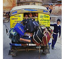 School Childs in Tuk Tuk - India Photographic Print