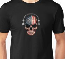 Dj Skull with American Flag Unisex T-Shirt