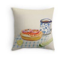 Bagel and Lox Watercolor Drawing Throw Pillow