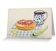 Bagel and Lox Watercolor Drawing Greeting Card