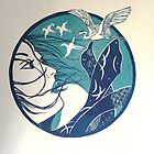 blue japan lino print by Leanne Inwood