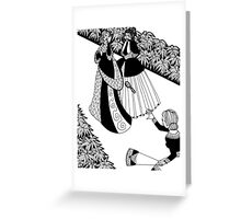 lady throwing a brush Greeting Card