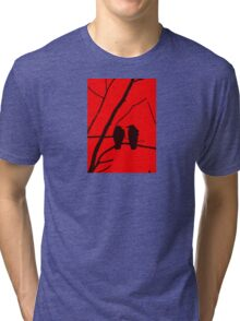 Love Birds Maybe Red and Black Design Tri-blend T-Shirt