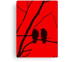Love Birds Maybe Red and Black Design Canvas Print