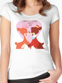 """Bears Like to Say it with a Slap!"" Bongo Lulubelle Valentine's Day Heart Love Romance Pink Red Bear Couple Cartoon Gift Idea Vintage Anniversary Women's Fitted Scoop T-Shirt"