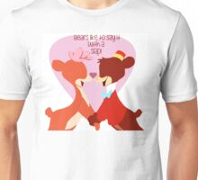 """Bears Like to Say it with a Slap!"" Bongo Lulubelle Valentine's Day Heart Love Romance Pink Red Bear Couple Cartoon Gift Idea Vintage Anniversary Unisex T-Shirt"