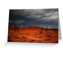 Red dirt.  Black Clouds. Greeting Card