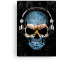 Dj Skull with Argentinian Flag Canvas Print