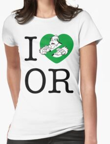 I PNW:GB OR (white) Green Heart v2 Womens Fitted T-Shirt