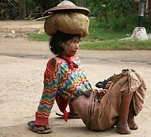 Handicapped lady in Burma by Kevin Hayden