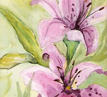 """""""Pink Lilies"""" by Marsha Woods"""