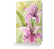 """""""Pink Lilies"""" Greeting Card"""