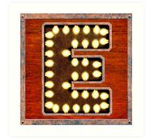 Vintage Lighted Sign - Monogram Letter E Art Print