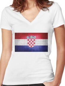 Croatia Flag Women's Fitted V-Neck T-Shirt