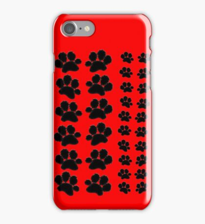 Paw Prints Pattern on Red iPhone Case/Skin