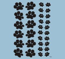 Paw Prints Pattern on Blue One Piece - Short Sleeve