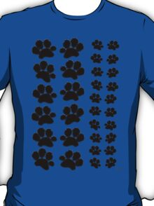 Paw Prints Pattern on Blue T-Shirt