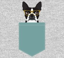 Darby - Boston Terrier pet design with hipster glasses in bold and modern colors for pet lovers Kids Tee