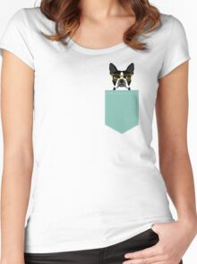 Darby - Boston Terrier pet design with hipster glasses in bold and modern colors for pet lovers Women's Fitted Scoop T-Shirt
