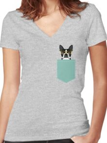 Darby - Boston Terrier pet design with hipster glasses in bold and modern colors for pet lovers Women's Fitted V-Neck T-Shirt