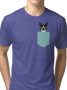 Darby - Boston Terrier pet design with hipster glasses in bold and modern colors for pet lovers Tri-blend T-Shirt