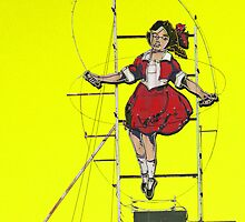 skipping girl in yellow by Neil Mouat