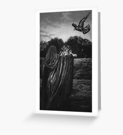 MORGAINE AND THE RAVEN  Greeting Card