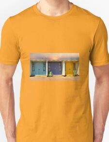 colourful and bright row of beach huts  bournemouth dorset uk  Unisex T-Shirt