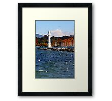 white lighthouse Framed Print