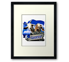 Happy goats in Greece Framed Print