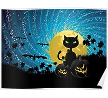Halloween party background with cat Poster
