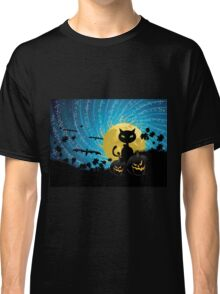 Halloween party background with cat Classic T-Shirt