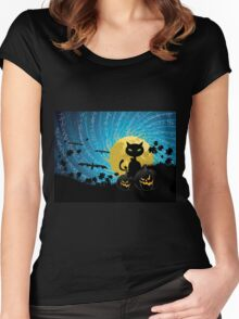 Halloween party background with cat Women's Fitted Scoop T-Shirt