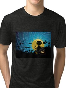 Halloween party background with cat Tri-blend T-Shirt