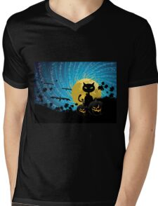 Halloween party background with cat Mens V-Neck T-Shirt