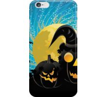 Halloween party background with pumpkins iPhone Case/Skin