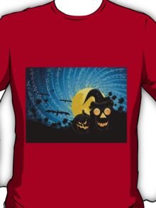 Halloween party background with pumpkins T-Shirt