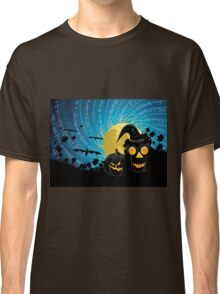Halloween party background with pumpkins Classic T-Shirt