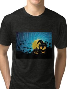 Halloween party background with pumpkins Tri-blend T-Shirt
