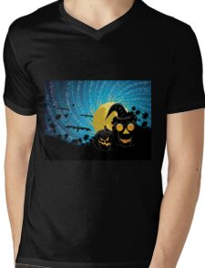 Halloween party background with pumpkins Mens V-Neck T-Shirt