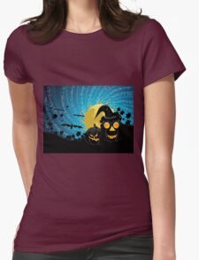 Halloween party background with pumpkins Womens Fitted T-Shirt