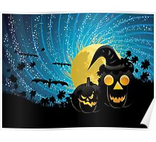 Halloween party background with pumpkins Poster
