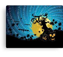 Halloween party background with pumpkins 2 Canvas Print