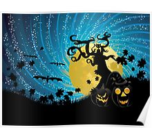 Halloween party background with pumpkins 2 Poster