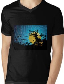 Halloween party background with pumpkins 2 Mens V-Neck T-Shirt
