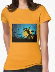 Halloween party background with pumpkins 2 Womens Fitted T-Shirt